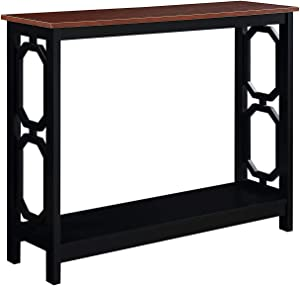 Convenience Concepts Omega Console Table, Cherry Top/Black Frame
