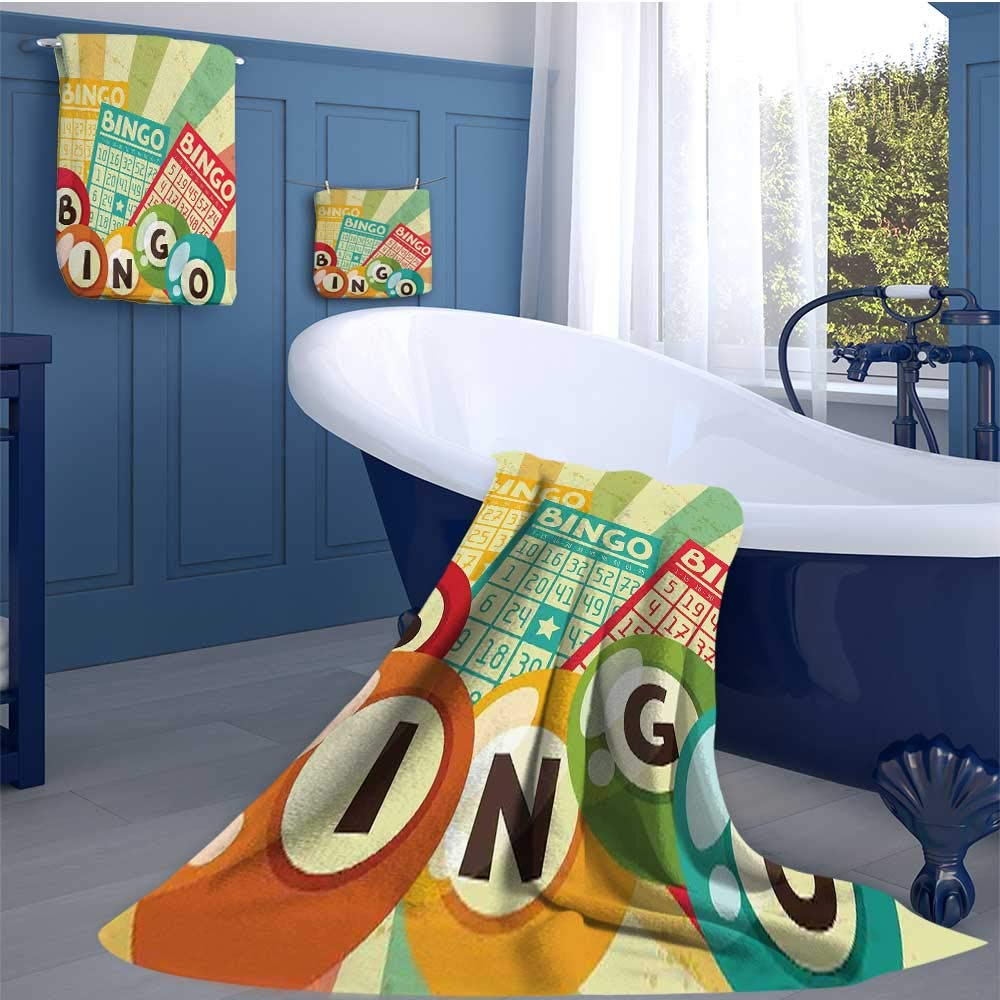 WolfgangDecor Vintage Soft Luxury Bath Sheet Set Bingo Game with Ball and Cards Pop Art Stylized Lottery Hobby Celebration Theme Bath towel 3D digital printing set Multicolor by WolfgangDecor