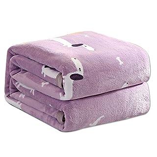 Comfot Sedoso luz púrpura Franela de Dibujos Animados Perro arroja Mantas cálido Cuerpo Suave Cubierta Mantas para sofá Cama Oficina Viendo TV,180×200CM