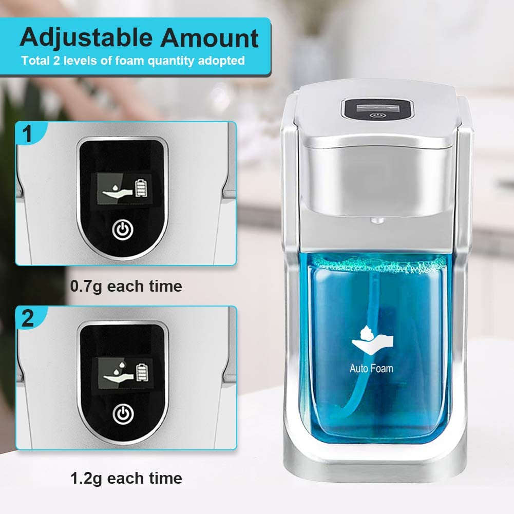 17oz / 500ml_Automatic Soap Dispenser - touchless Infrared Sensor Battery-Operated Electric Automatic Soap Dispenser wall mount with Adjustable plastic Soap Dispensing Volume Control Touch Button