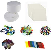 1 Large Microwave Kiln & 5 Bags Fusing Glass & 10pcs Kiln Paper for Glass Fusing by Hensom