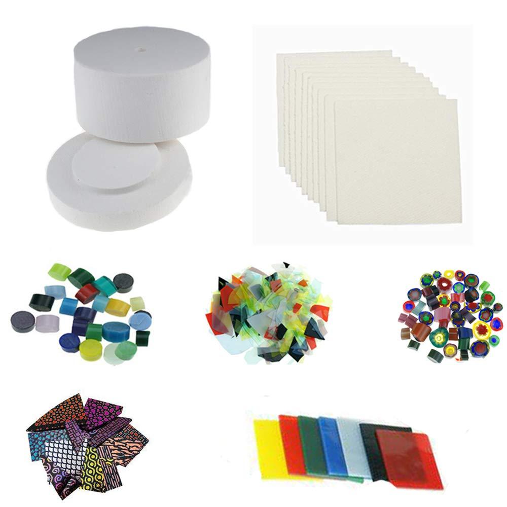 1 Large Microwave Kiln & 5 Bags Fusing Glass & 10pcs Kiln Paper for Glass Fusing