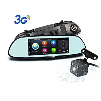 Dual Lente Cámara de Coche Podofo 7 Pulgada Android 5.0 GPS Navegación 1080P Full HD 3G