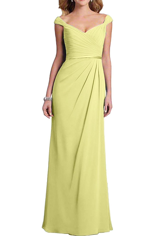 Gorgeous Bride Hochwertig Lang Aendmode 2017 Träger Chiffon Etui Abendkleider Lang Cocktailkleider Ballkleider -50-Daffodil