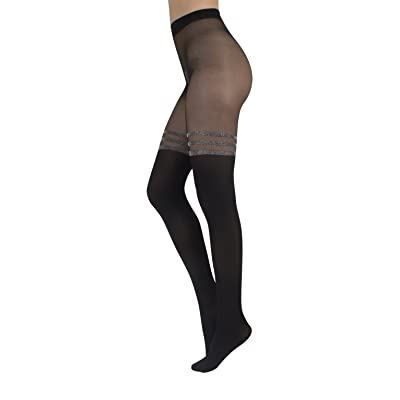 MOCK SUSPENDER TIGHTS WITH STRIPES IN LUREX | 40/20 DEN | OPAQUE - SHEER TIGHTS | S, M, L, XL | ITALIAN HOSIERY | at Women's Clothing store