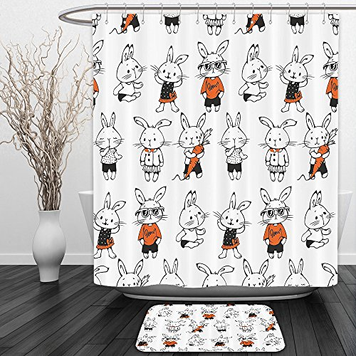 Vipsung Shower Curtain And Ground MatFunnyCute Retro Bunny Rabbits with Costumes Jack Hare Funky Bunnies Carrot Sketch Style Orange WhiteShower Curtain Set with Bath Mats (Carrot Costume Pattern)