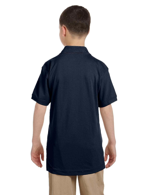 Harriton Youth 5.6 oz Easy Blend Polo NAVY XL