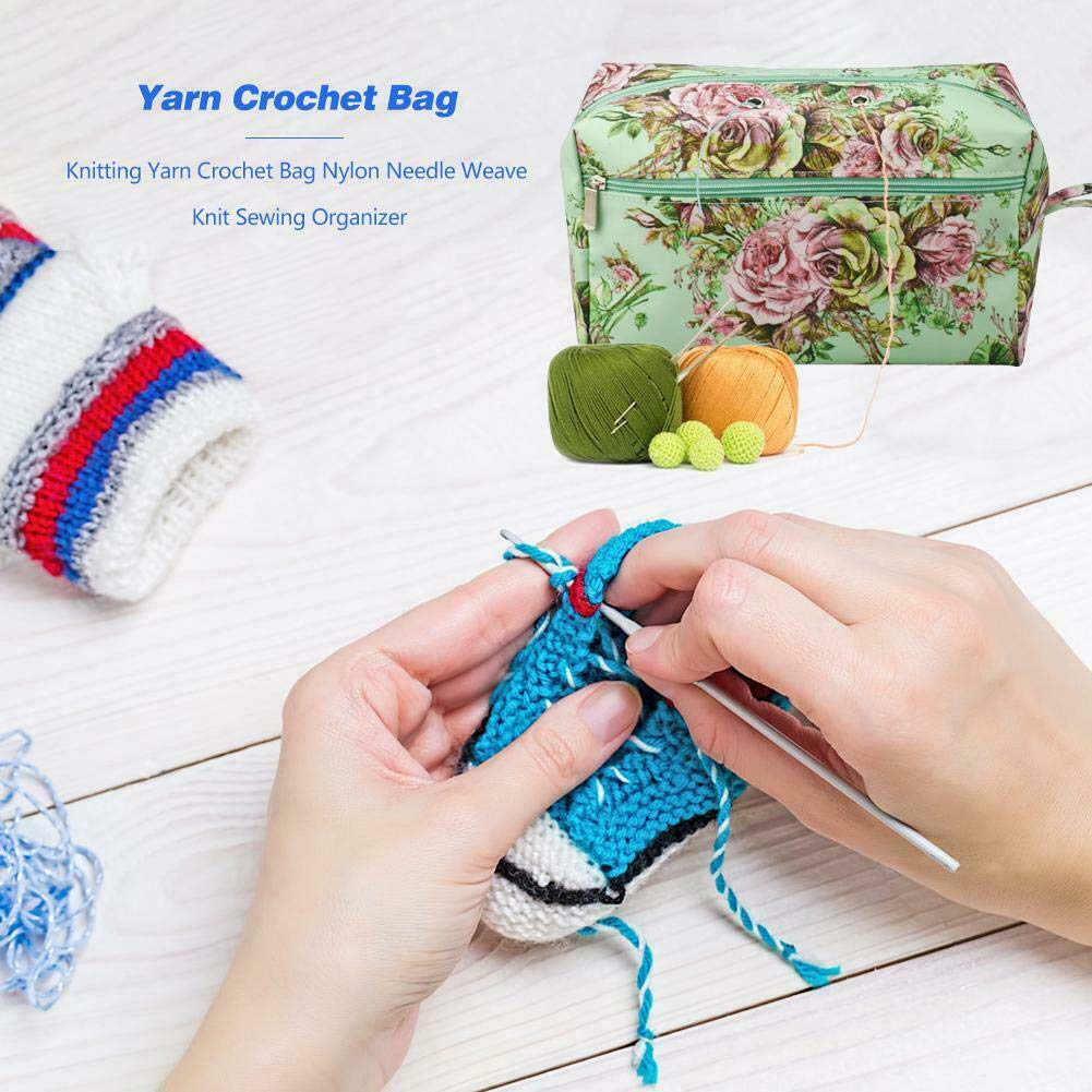 Empty Floral Knitting Yarn Storage Tote Bag Basket for Yarn//Unfinished Projects//Other Knitting Accessories Yarn Storage Organizer Bag for Crochet