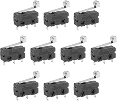 10PCS Mini Micro Switch with Roller Limit Switch Snap Action 3 Pins 5A HIQH