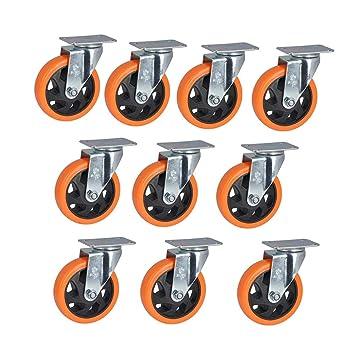 MuMa Ruedas Naranja PVC Medio Plano Superior Universal Muebles Industria Rueda 5 Pulgadas 10 Paquetes (Color : Orange, Tamaño : 5 Pulgadas): Amazon.es: ...