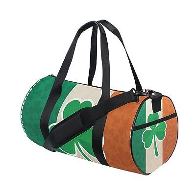 POUKE Canvas Duffel Bag Adjustable Strap Unisex Travel Luggage Gear Irish Clover free shipping