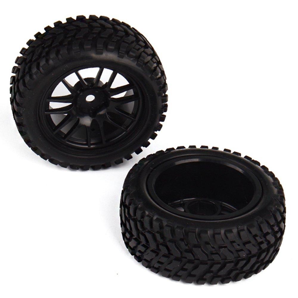 Juguetes y juegos Neumáticos de neumáticos negros de goma del borde de la rueda de 1:10 para el coche del coche de la desviación del coche de carreras en línea Paquete de 4
