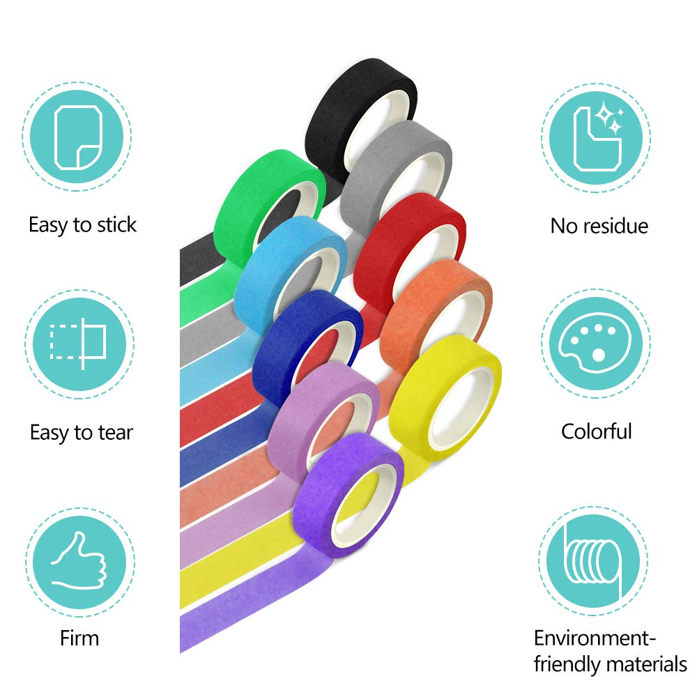 Colored Masking Tape-10 Different 0.6Inch x 10M Rainbow Rolls-DIY Washi Painter Tape for Art,Lab,Labeling,Classroom Decoration,Office & Home Supplies