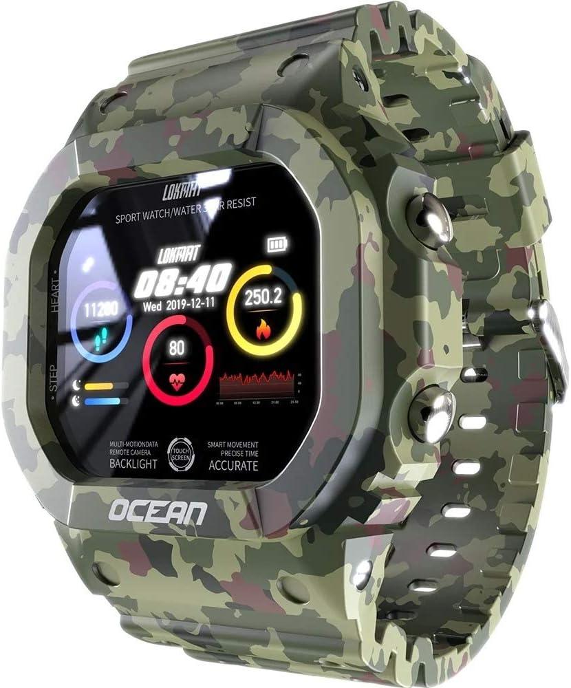 Lokmat Ocean - Reloj inteligente con pantalla táctil de actividad física IP68, resistente al agua, reloj deportivo Bluetooth 4.0, multideporte, estilo camuflaje