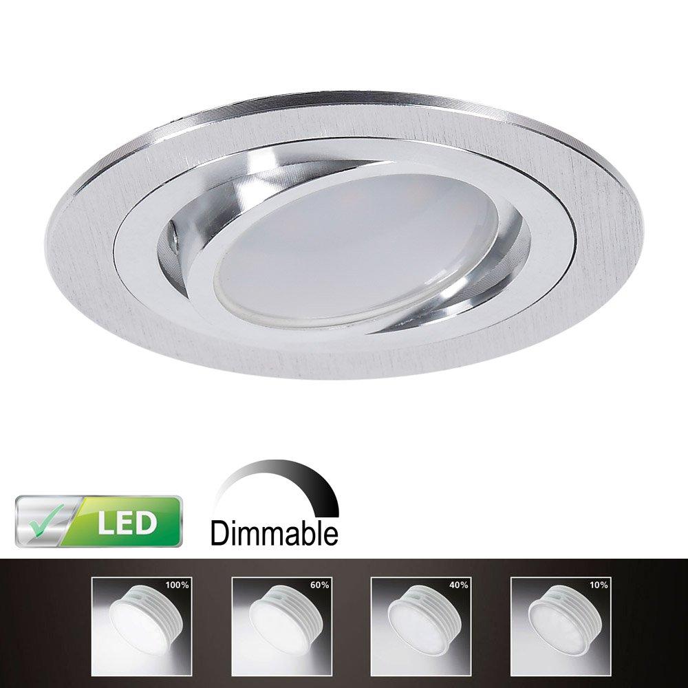 LED-Einbaustrahler 5er Set | Einbauleuchte Alu rund | Einbauspot ...