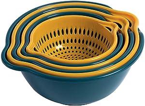 LRECNOM 6 Pieces 2-in-1Plastic Multipurpose Fruit Vegetable Colander kitchen Strainer Bowl Sets, Fruit Tray,Washing Bowl And Strainer, Fruit And Vegetable Drain Basket… (blue)