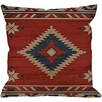 HGOD DESIGNS Vintage Southwest Native American Throw Pillow Case,Cotton Linen Cushion Cover Square Standard Home Decorative for Men/Women 18x18 inch Red ...