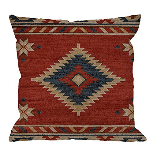 (HGOD DESIGNS Vintage Southwest Native American Throw Pillow Case,Cotton Linen Cushion Cover Square Standard Home Decorative for Men/Women 18x18 inch Red …)