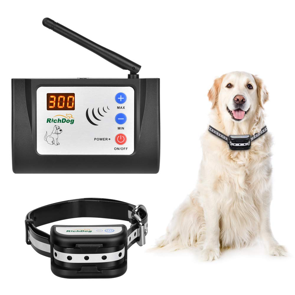 Wireless Fence – Electric Dog Fence Wireless, Safe Dog Containment System, Adjustable Range Up to 1000 Feet LED Distance Display, IP65 Waterproof Rechargeable Collar, Tone Shock Working Mode