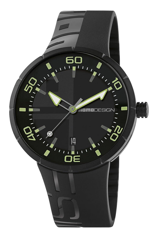 Momo Jet Black md2298bk-31 Herren Uhr mit Kautschuk-Armband Schwarz und Box aus Edelstahl in PVD Schwarz.