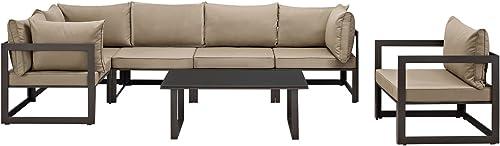 Modway Fortuna Aluminum 7-Piece Outdoor Patio Sectional Sofa Furniture Set