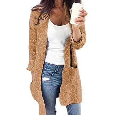 Btruely Herren Chaqueta Suéter Abrigo Jersey Mujer, Abrigo de suéter de Manga Larga con Parte Delantera de Bolsillo Abierto de Invierno para Mujer: ...