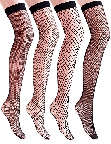 Vero Monte 4 Pairs Women's Argyle Fishnet Thigh High Socks (Black) 41714 (Black Fishnet Knee Highs)