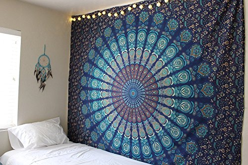 Indian hippie Bohemian Psychedelic Peacock Mandala Wall hanging Bedding Tapestry (Blue Green, Queen(84x90Inches)(215x230Cms)) - Blue Tapestry