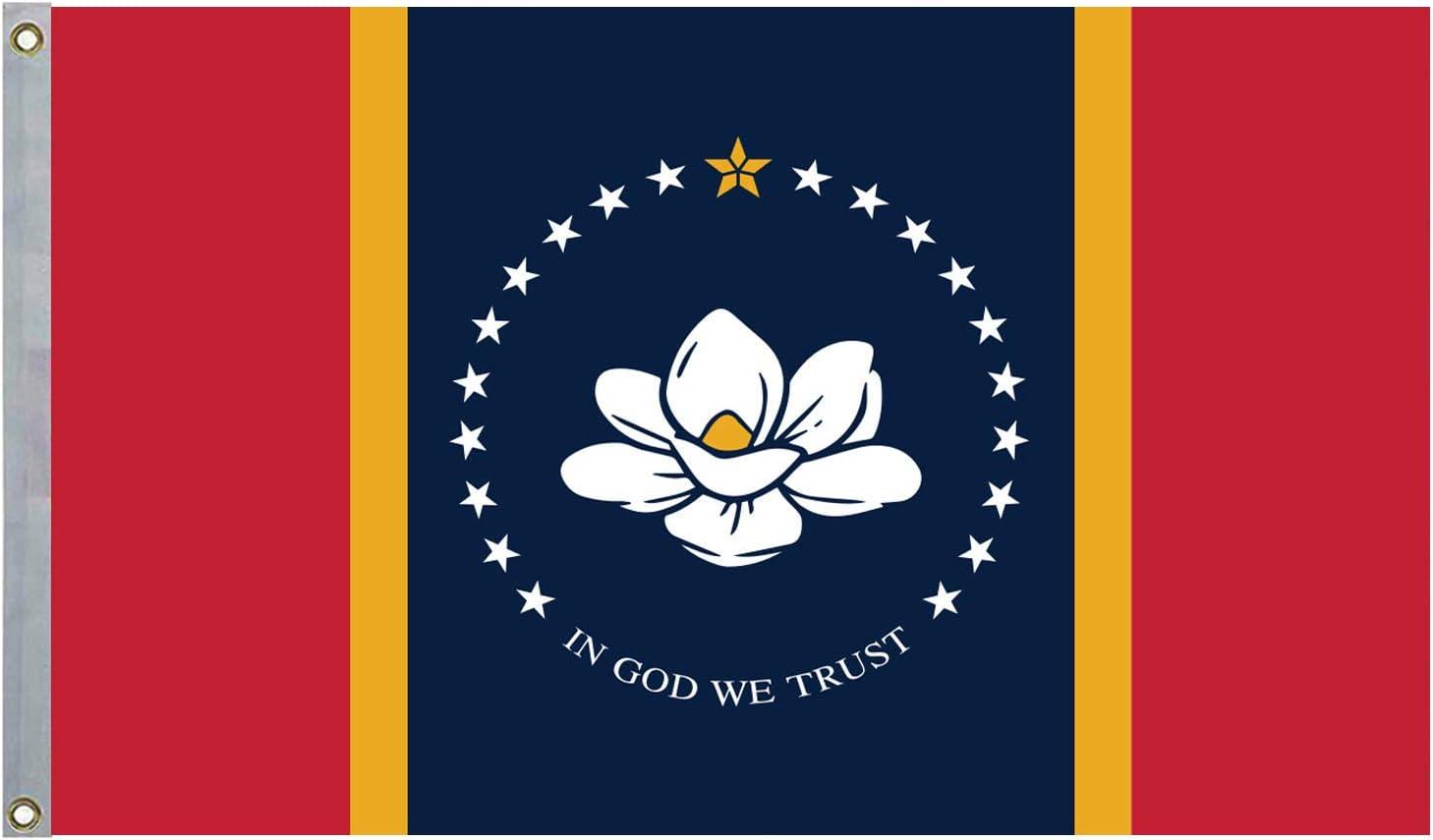 LOYOKI Newest Mississippi State Flag, in God We Trust Flag Magnolia Design Voter Indoor Outdoor Decoration Lawn Flag 3x5 Feet