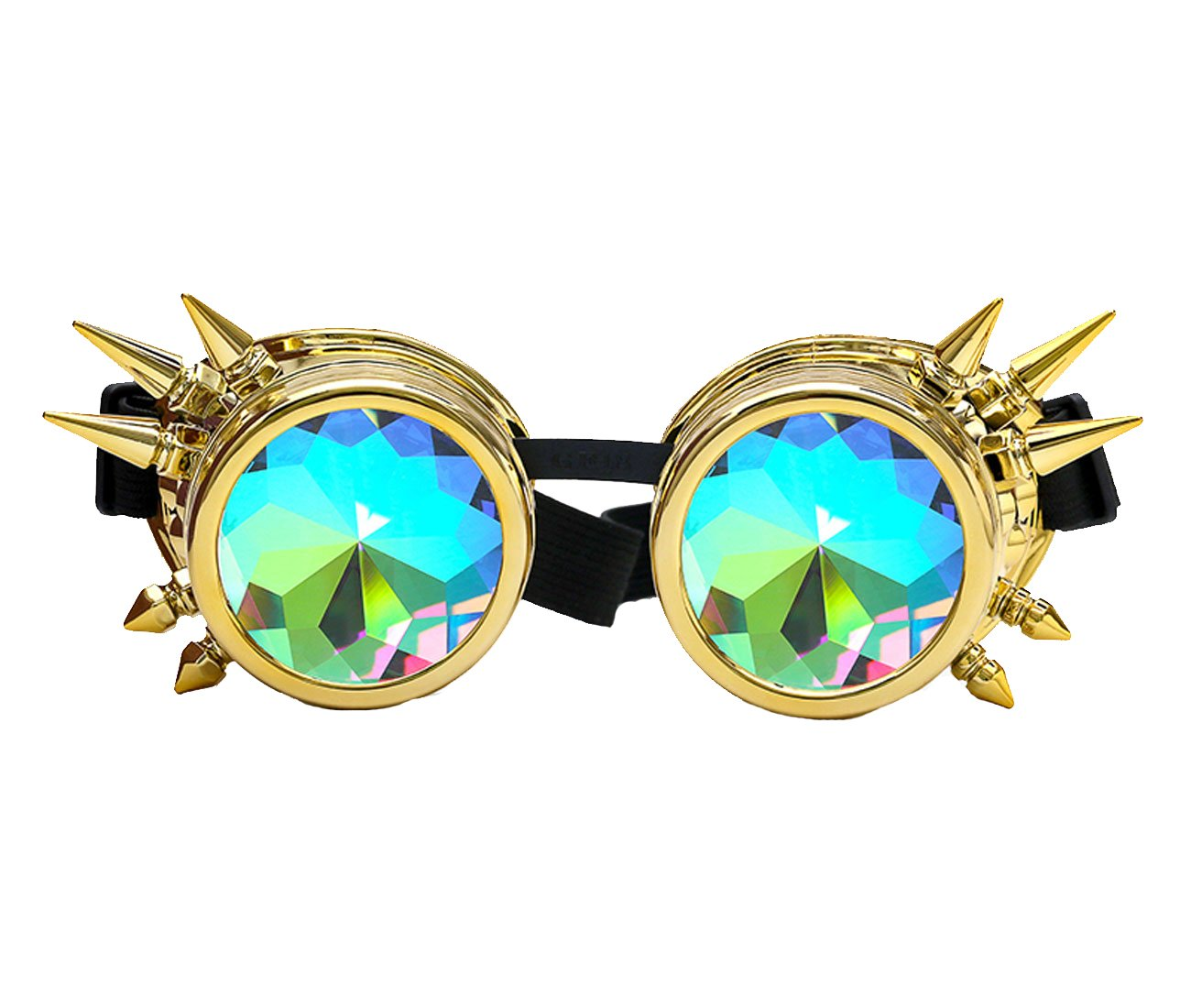 Amazon, Kaleidoscope Rave Rainbow Crystal Lenses Steampunk Goggles Spike Halloween (One Size-Adjustable head band, Golden) by DODOING (Image #2)