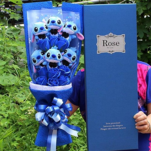 Artificial Lovely Cartoon Plush Toys Stitch Festivals Gift Bouquet with Fake Flowers For Valentine's Day Wedding Party Decora (1)