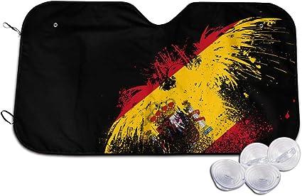 PecoStar - Parasol para Parabrisas Delantero de Coche con diseño de Bandera de España y águila, excelente Reflector UV y de Calor, fácil de Usar: Amazon.es: Coche y moto