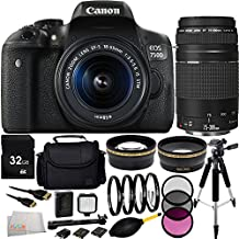 Canon EOS Rebel T6i/750D DSLR Camera with EF-S 18-55mm f/3.5-5.6 IS STM Lens & EF 75-300mm f/4-5.6 III Lens 32GB Bundle 15PC Accessory Kit. Includes 32GB Memory Card + 0.43X Wide Angle Lens + 2.2X Telephoto Lens + 3PC Filter Kit (UV-CPL-FLD) + MORE