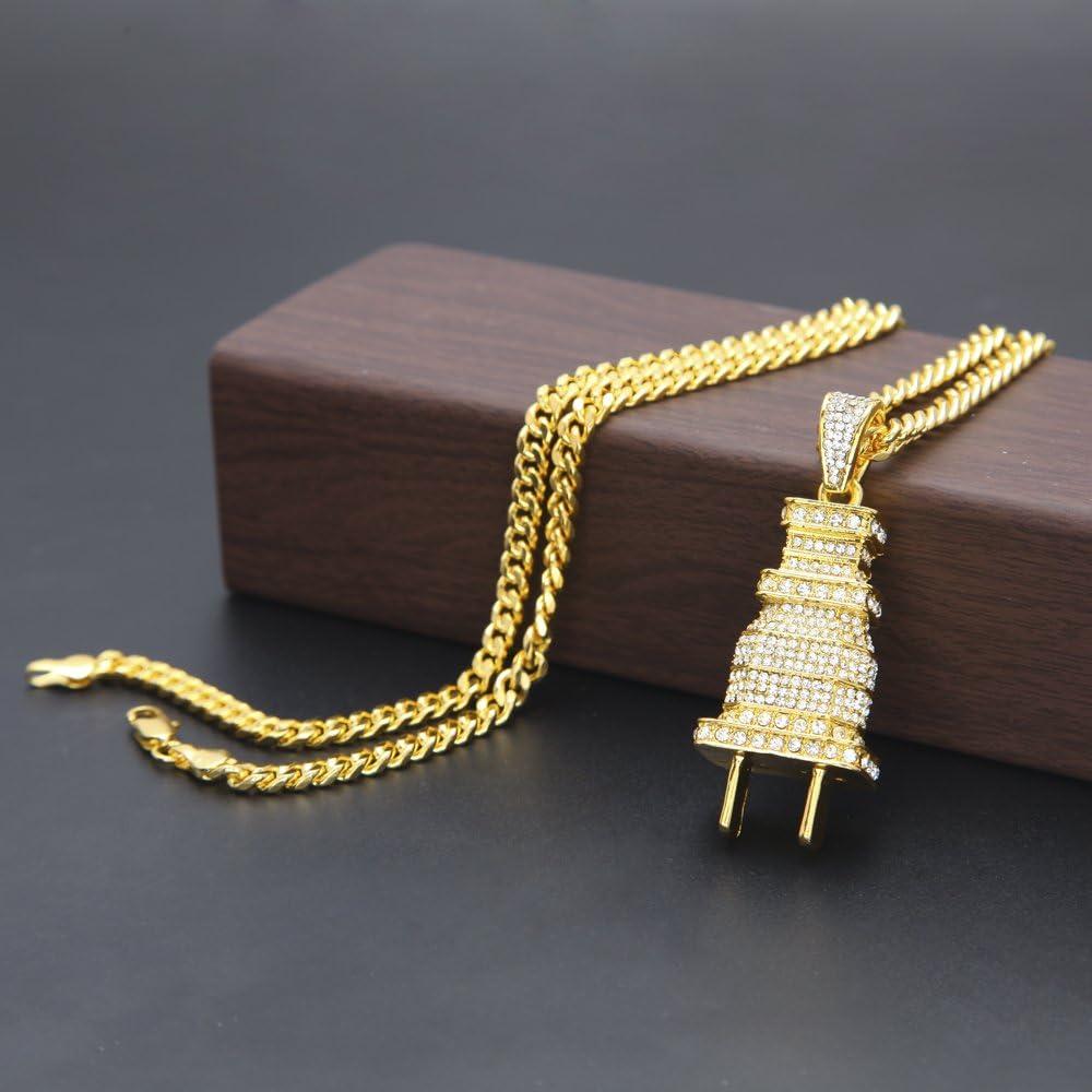 Mcsays Hip hop 18K Plaqu/é Or Titanium Acier Pendentif Pendentif avec Strass Cuban Cha/îne Collier Hommes Bijoux Pour Pr/ésent