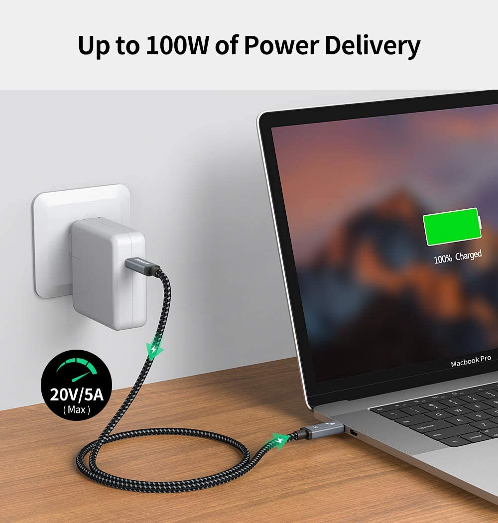 40Gbps USB-C to USB-C Supports 4K or 5K 60hz Monitor iMac 20V//5A SUNGUY 100W Chromebook 0.6m Nylon Braided Dell Thunderbolt 3 Cable 2ft Compatible with MacBook Pro//Air