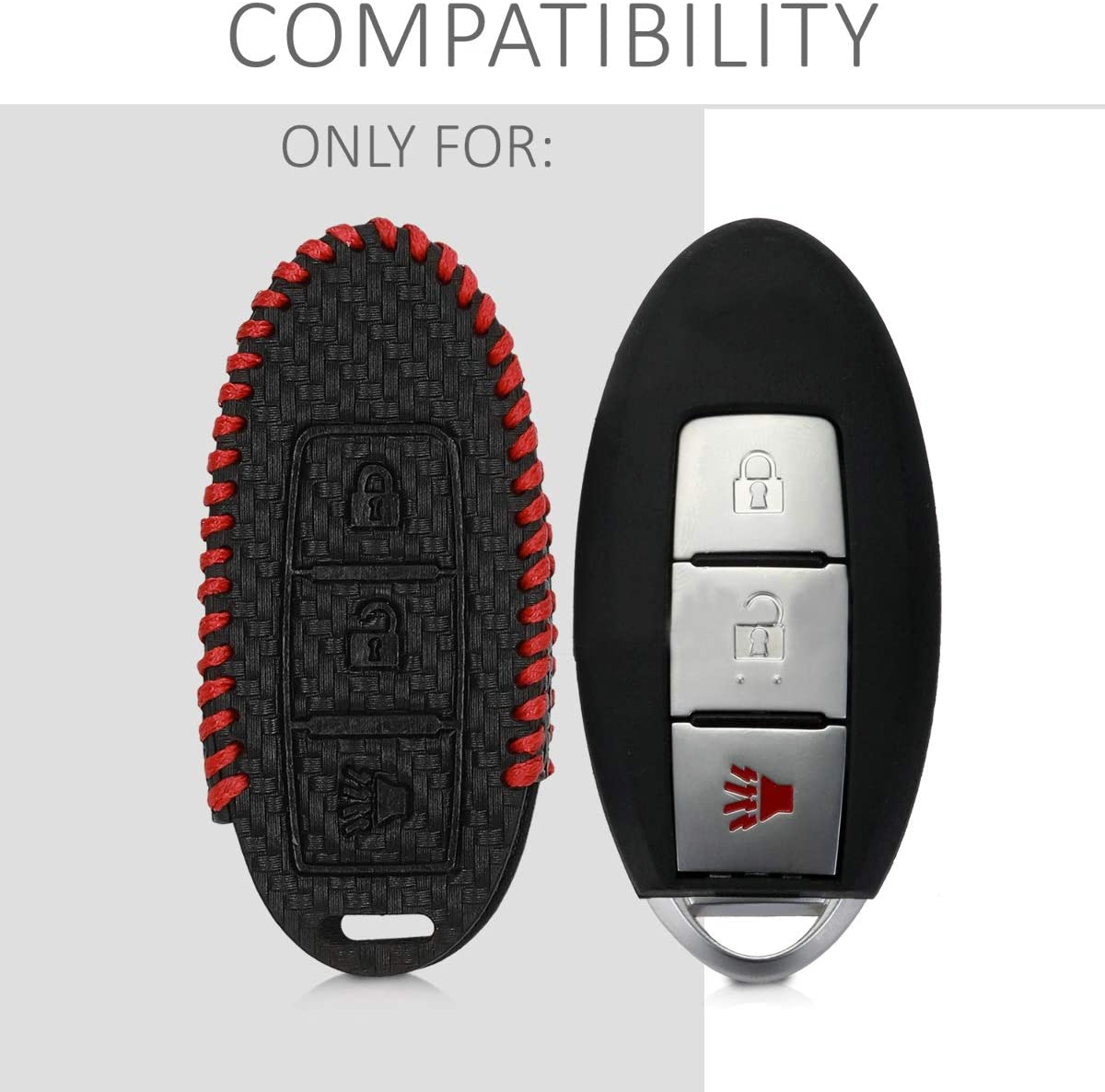 kwmobile Car Key Cover Compatible with Nissan 3 Button Car Key Carbon Black//Red PU Leather Car Key Fob Cover