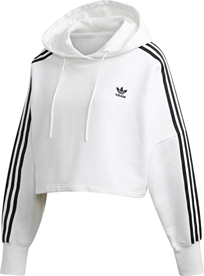adidas Originals Women Hoodies Cropped White 42: Amazon.co ...