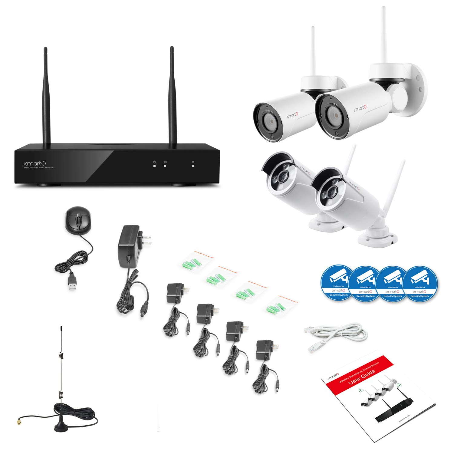 8CH 1080p NVR Built-in Router, Auto Pair, Mobile View, 1TB HDD XMARTO + 2pc Bullet IP Cameras for Home Surveillance 2pc WiFi Wireless Security Camera System PTZ Cameras Outdoor Expandable 8CH