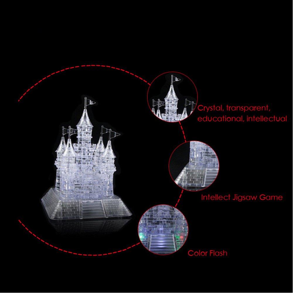 WAYCOM 3D Crystal Castle Puzzle - 3D Jigsaw, Light-up Musical,105pcs
