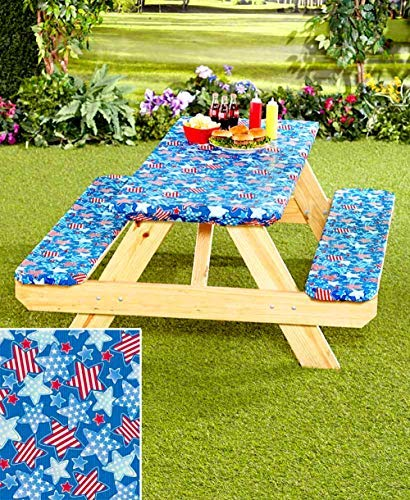 3-Pc. Picnic Table Covers (Americana Stars) (1, TAN) by CT DISCOUNT STORE