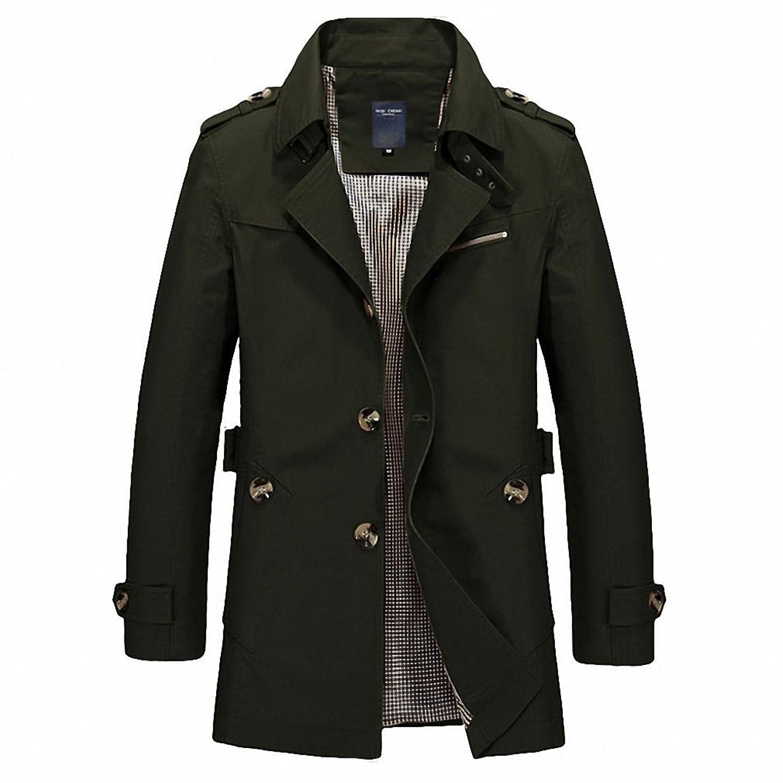 Mens Coat Casual Autumn Long Windbreaker Turn-down Overcoat masculino Plus Size MWF274 at Amazon Mens Clothing store: