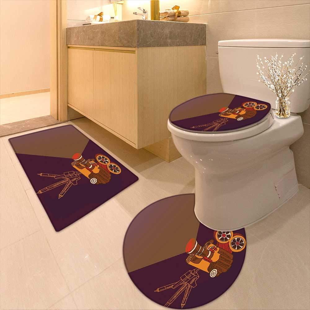 Printsonne Lid Toilet Cover Classic Movie Theater Machine Cinema Fest Typography Past Filmmaker Brown Purple Personalized Durable