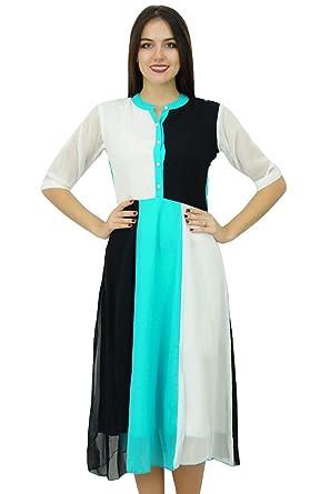 37941803844a Bimba Womens Classic Mandarin Collar Shift Dress Tricolour Midi Summer Chic  Dresses: Amazon.co.uk: Clothing