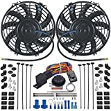 American Volt Dual Reversible 12V Electric Engine Radiator Cooling Fan & Adjustable Thermostat Switch Kit (9