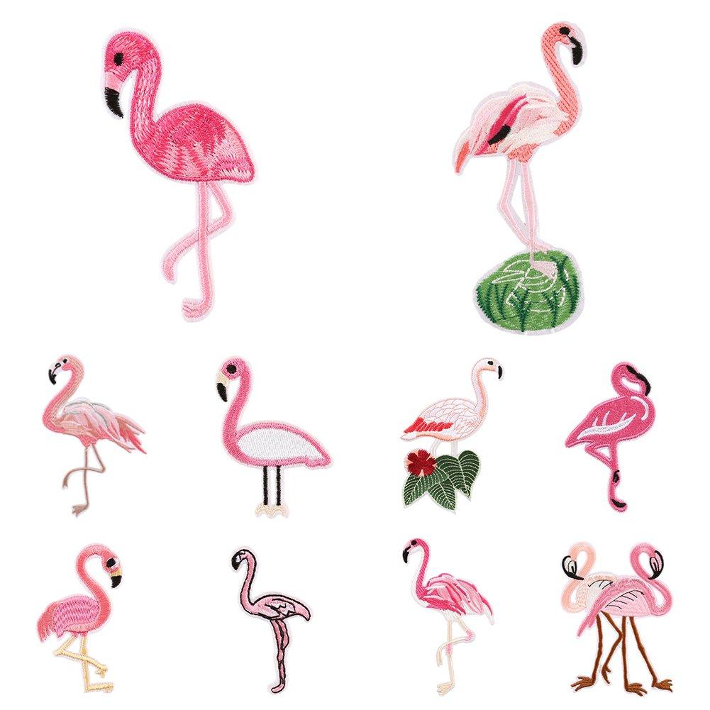 2.95 x 5.83 10# Panno a forma di fenicottero rosa Display08 -/Toppa ricamata da cucire