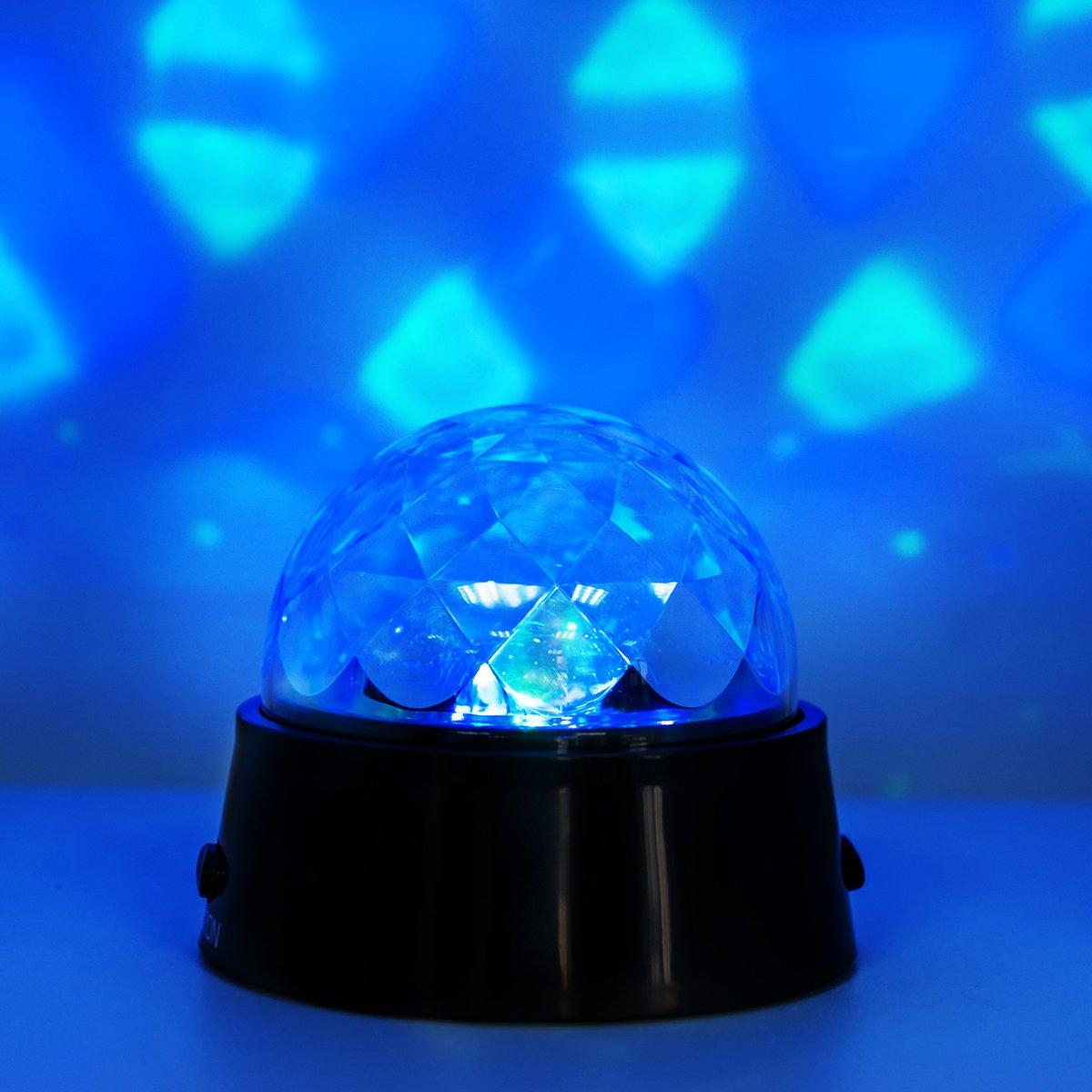 DXP RGB LED Discokugel Licht Stadion-Effekt Lichtprojektor B/ühnenbeleuchtung Farbwechsel Nachtlicht-Lampe mit Projektion WeihnachtenHochzeiten Stadion Club Kristall Magic Ball Partylicht SKY19