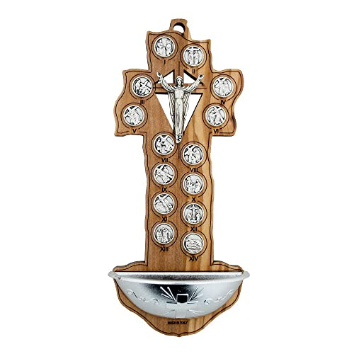 VILLAGE GIFT IMPORTERS Olive Wood Stations of The Cross Holy Water Font Crucifix-Style