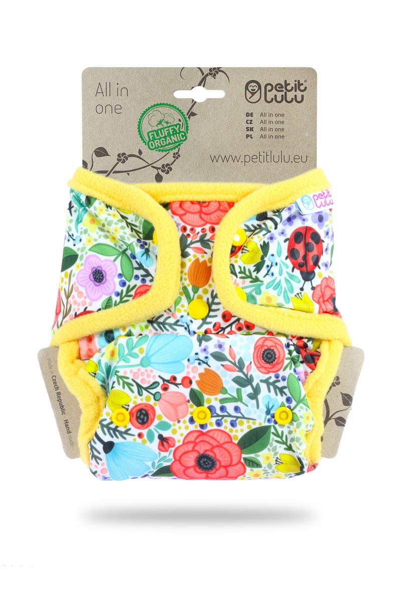 Colourful Orient AIO Fluffy Organic Snaps Petit Lulu All-in-ONE Pocket Nappy Made in Europe Reusable /& Washable