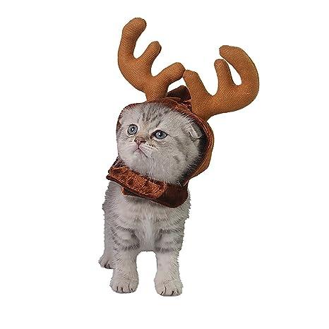 Sombreros de reno de Navidad para mascotas, perro/gato, colección clásica, accesorio