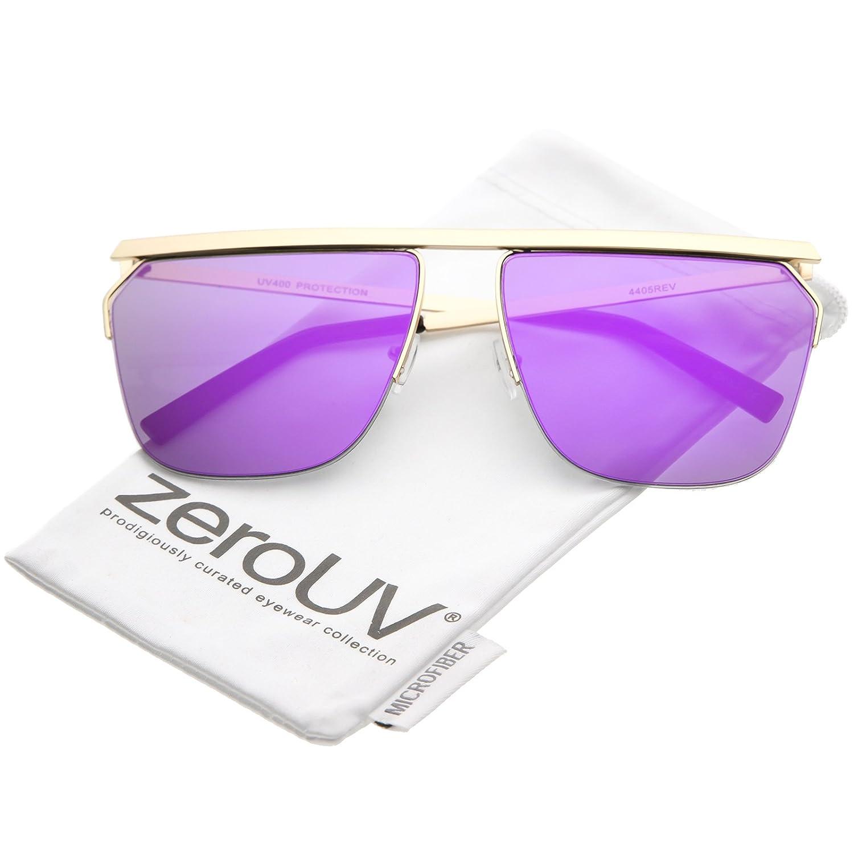 04ca4f26ea Amazon.com  zeroUV - Oversize Modern Semi Rimless Straight Crossbar Color  Mirrored Flat Lens Aviator Sunglasses 63mm (Gold Purple)  Clothing